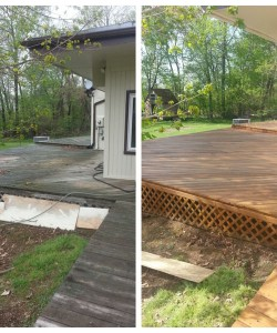 Before & After Of A Pressure Washed & Stained Deck