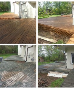 Before & After Pictures Of A Deck That Was Pressure Washed & Stained